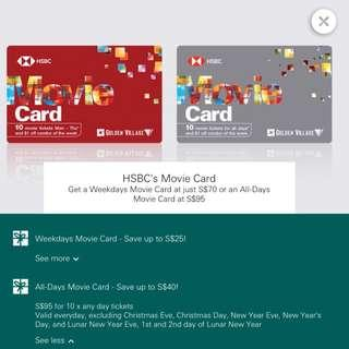 [Re-Post]  HSBC Movie All - Day Movie Card @ $95