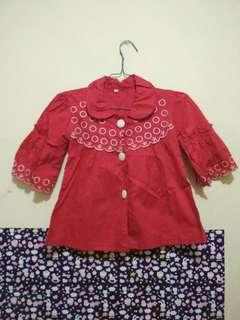 Blus Merah Bordir semi crop