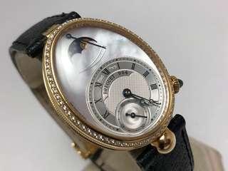 Breguet 寶璣 那不勒斯 原鑲鑽錶 Naples 8908 貝殼面盤 月相功能自動腕錶 九成新 直購價559000 盒單齊 有原廠錶帶
