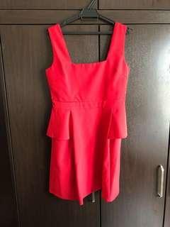 Red Zalora Peplum Dress #precny60