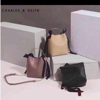 Charles & Keith Charles & Keith VELVET BOW DETAIL BUCKET BAG