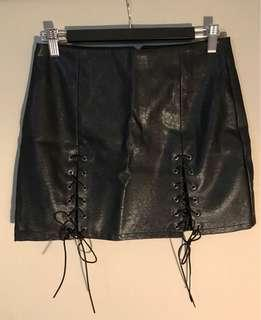 Slit leather skirt