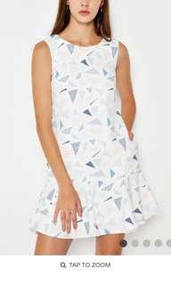 Geometric print white dress
