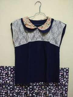Lace atasan navy