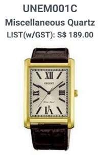 Orient rectangle face quartz watch