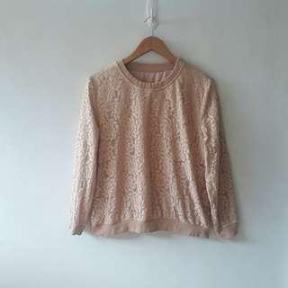 Nude Lace Pullover
