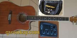 Acoustic Guitar 41 inch A&K Semi Pickup/Tuner #330E