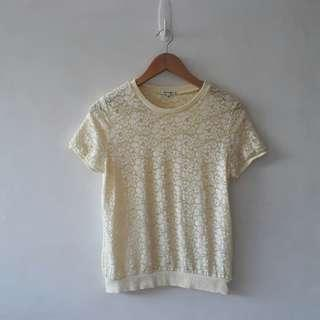 GLOBAL WORK YELLOW LACE TOP