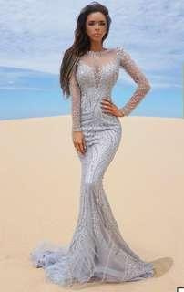 Tina Holy Silver Beaded Gown SALE