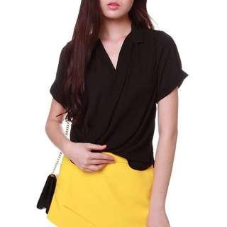 🚚 MDS Collection Sleeved Wrap Top in Black