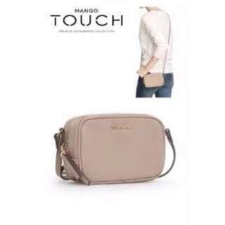 MNG MANGO Nude Beige Mini Saffiano Leather Crossbody Bag