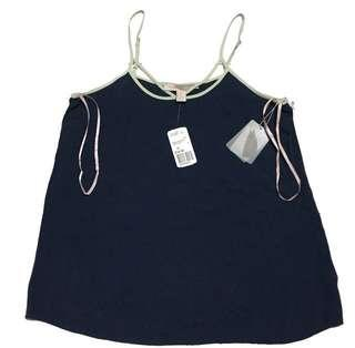 Forever 21 woven top navy celery