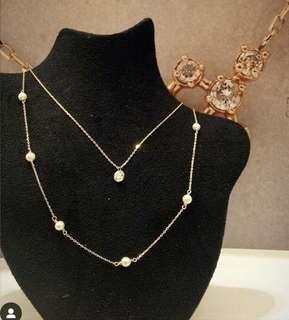 🚚 日本品牌agete風k10黃金珍珠項鍊 鎖骨鏈