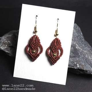 Petite micro macrame crochet handmade earrings //[maroon teardrop earrings jewellery lane22 classic #3 macramé bridesmaid]