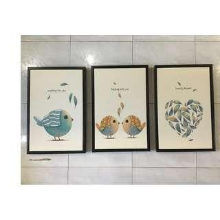 3 pieces of art print on canvas