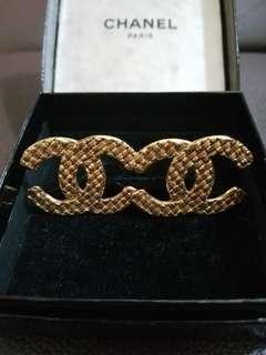 Chanel vintage earrings 中古金色格紋大耳夾