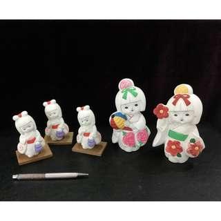 Japanese ceramic dolls 5 pieces