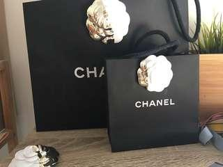 Chanel Holiday Christmas Camellia Flower with light gold half and almost half dipped