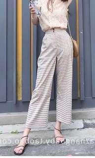 [BNWT] High Waist Plaid Culottes Pants #PRECNY60