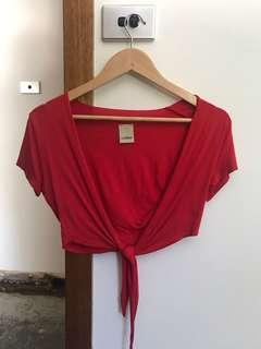 Red wrap tie front top