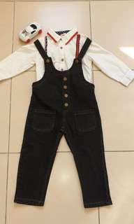 🚚 男童(白)襯衫+吊帶褲