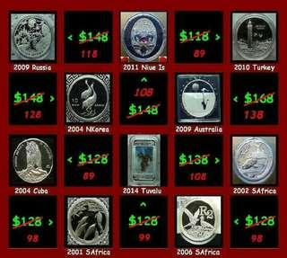 👉🎁 Fm $55⬆(Lot of 10x) 1 Troy / Oz+ Grams (999) Fine Silver Proof coins