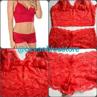Lingerie wrapped bra & panties red