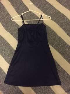 Navy mini dress with side zipper
