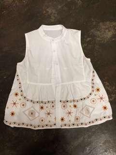 [PL] Mandarin Collar Embroidery White Blouse #PRECNY60