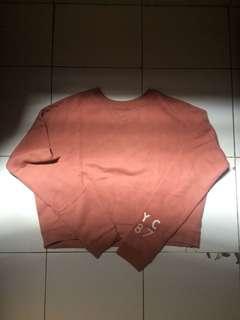 Pink top sweater tebal