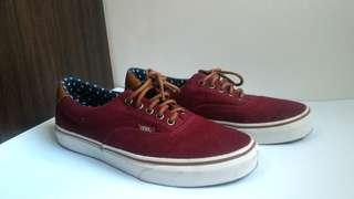 Vans Shoes (Maroon with Leather Brown)
