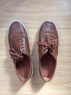 Brown faux leather sneakers