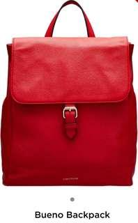 Oroton Bueno Leather Backpack- RED
