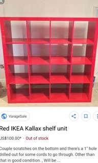 USED RED IKEA KALLAX SHELF