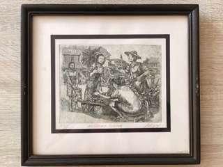 Framed Drawing of a Market Scene