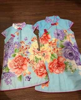 PL Girls' Cheongsams - Blue Floral