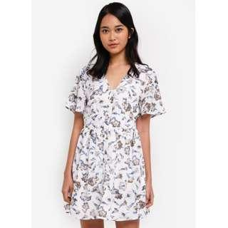 Something Borrowed Button Down Waisted Floral Dress