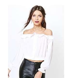 Boohoo off the shoulder top