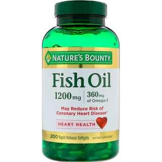 Nature's Bounty Fish Oil 1200 mg, 200 Rapid Release Odourless Softgels