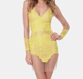 Nude and yellow mesh lace dress