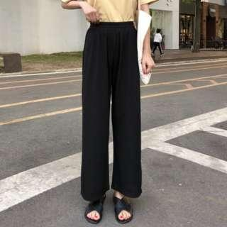 Women Korean Fashion Loose High Waist Wide Leg Straight Pants [Black/Apricot]