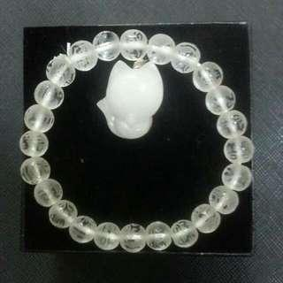 8.3mm Frosted White Crystal 6 Mantra Bracelet ➕ Powdered Crystal Fox Pendant