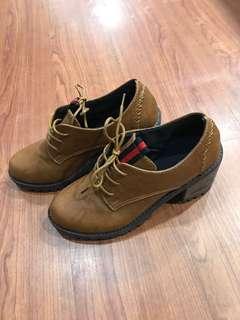 🚚 棕色 高跟皮鞋 24號
