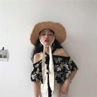 🚚 韓版花色氣質寬鬆綁帶顯瘦露肩雪紡上衣