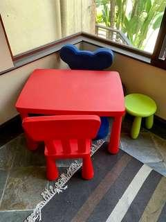 Kid's Table, Stool, Chair & Bear Bendable Chair