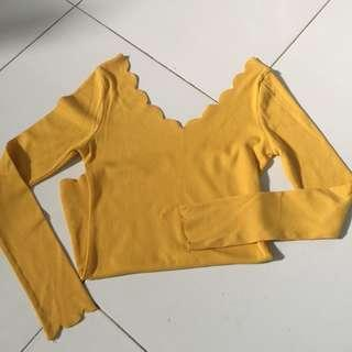 scallop long sleeve top