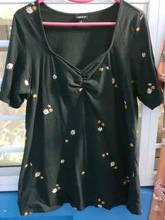 2XL Black floral Blouse
