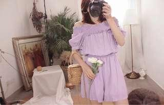Pastel Purple Off Shoulder Romper / Jumpsuit #PRECNY60