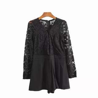 Black Laces Long Sleeve Romper / Jumpsuit #PRECNY60