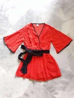 Red Kimono Wrap Romper / Jumpsuit #PRECNY60